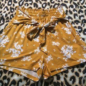Ultra Flirt Yellow flower shorts